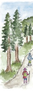 Thin strip of trees with 2 children
